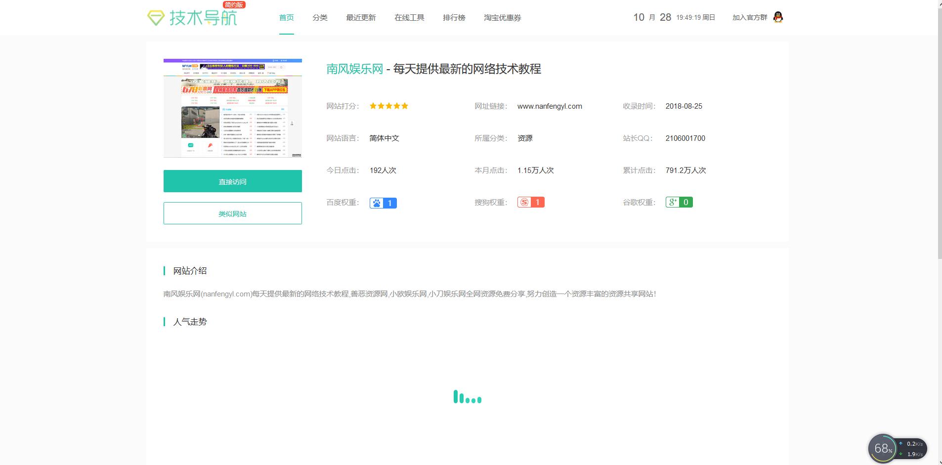 首发QQ技术导航网源码简约版模板/站长亲测