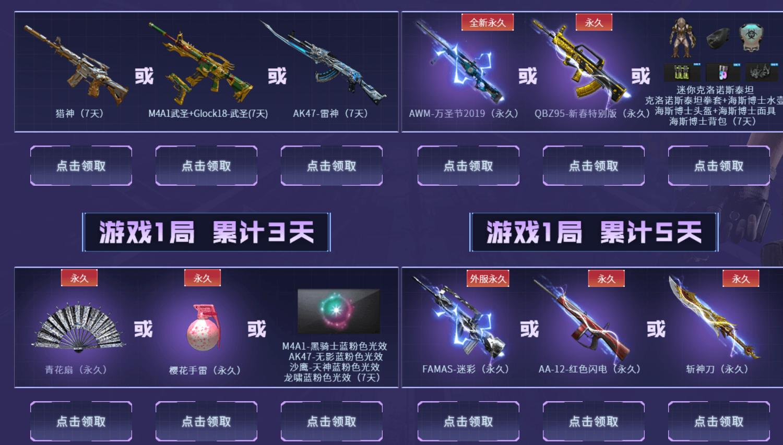 穿越火线累计游戏领各种极品装备武器