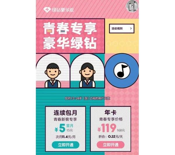 QQ音乐学生专享豪华绿钻5元开活动
